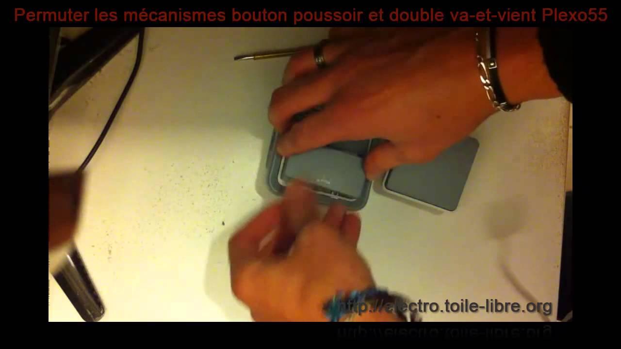inverser bouton poussoir et double va et vient plexo 55 youtube. Black Bedroom Furniture Sets. Home Design Ideas