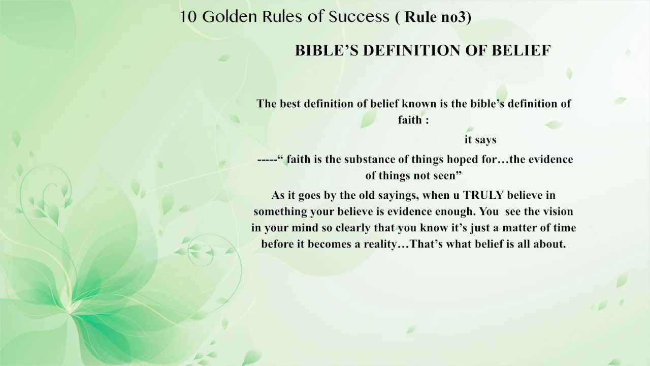 10 golden rules of success ..rule 3) point 3) bible's definition of