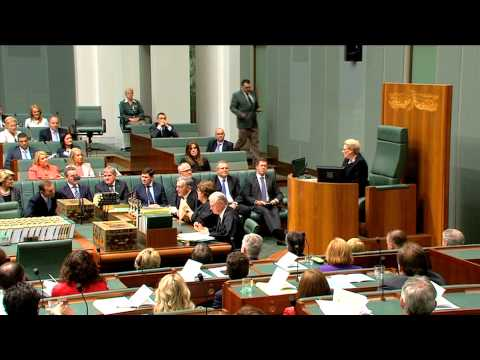 The Hon Bronwyn Bishop elected as Speaker of the House of Representatives.
