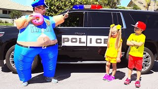 Diana and Roma practice safe driving and learn the rules of the road  \/ Kids Play Police Compilation