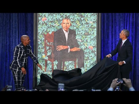 Artist Kehinde Wiley behind Obama portrait