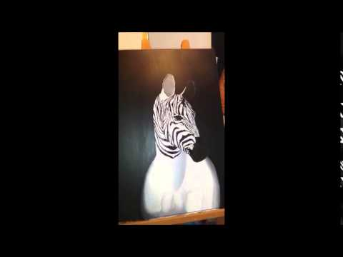 zebra malen acryl auf leinwand youtube. Black Bedroom Furniture Sets. Home Design Ideas
