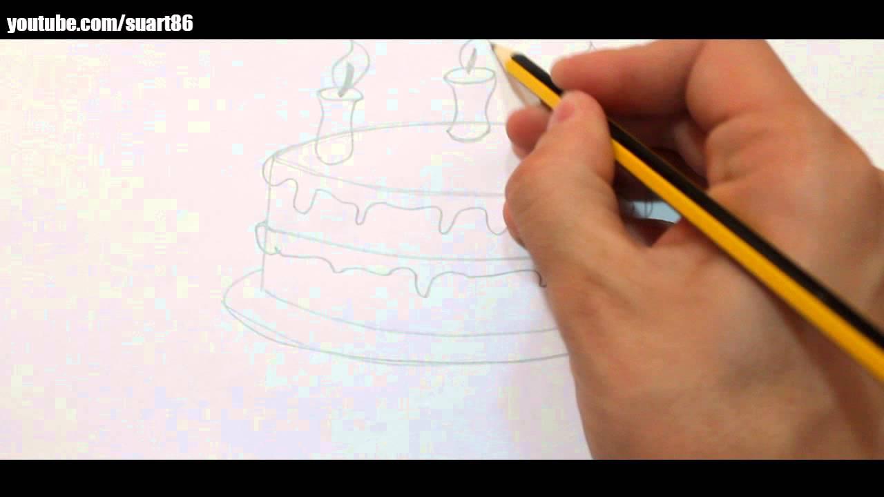 Como dibujar una torta de cumpleaños - YouTube