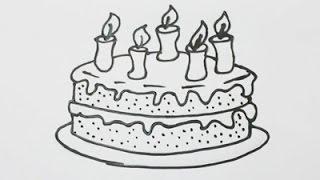 Como dibujar una torta de cumpleaños