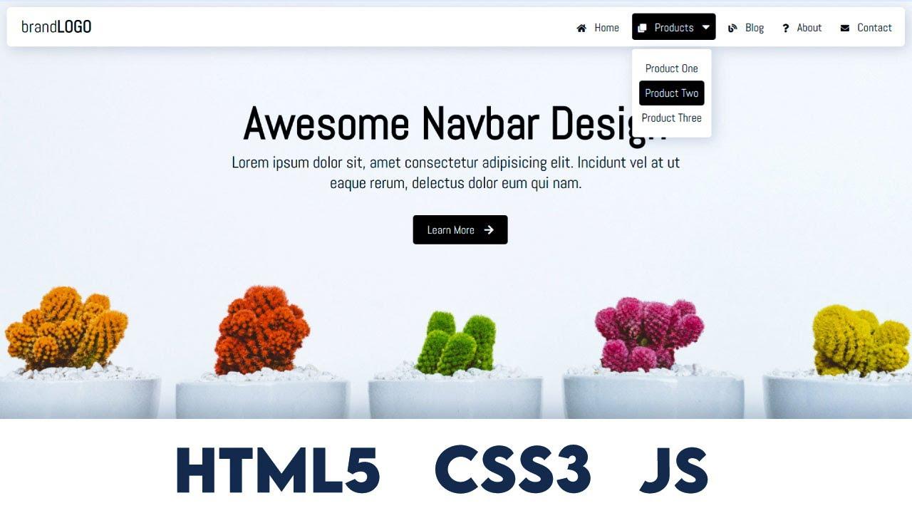 Navbar with Dropdown Menu (HTML5, CSS3 and Vanilla JavaScript)