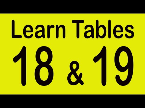 Learn 18 and 19 Table for Students   Multiplication tables   Table of 18   Table of 19