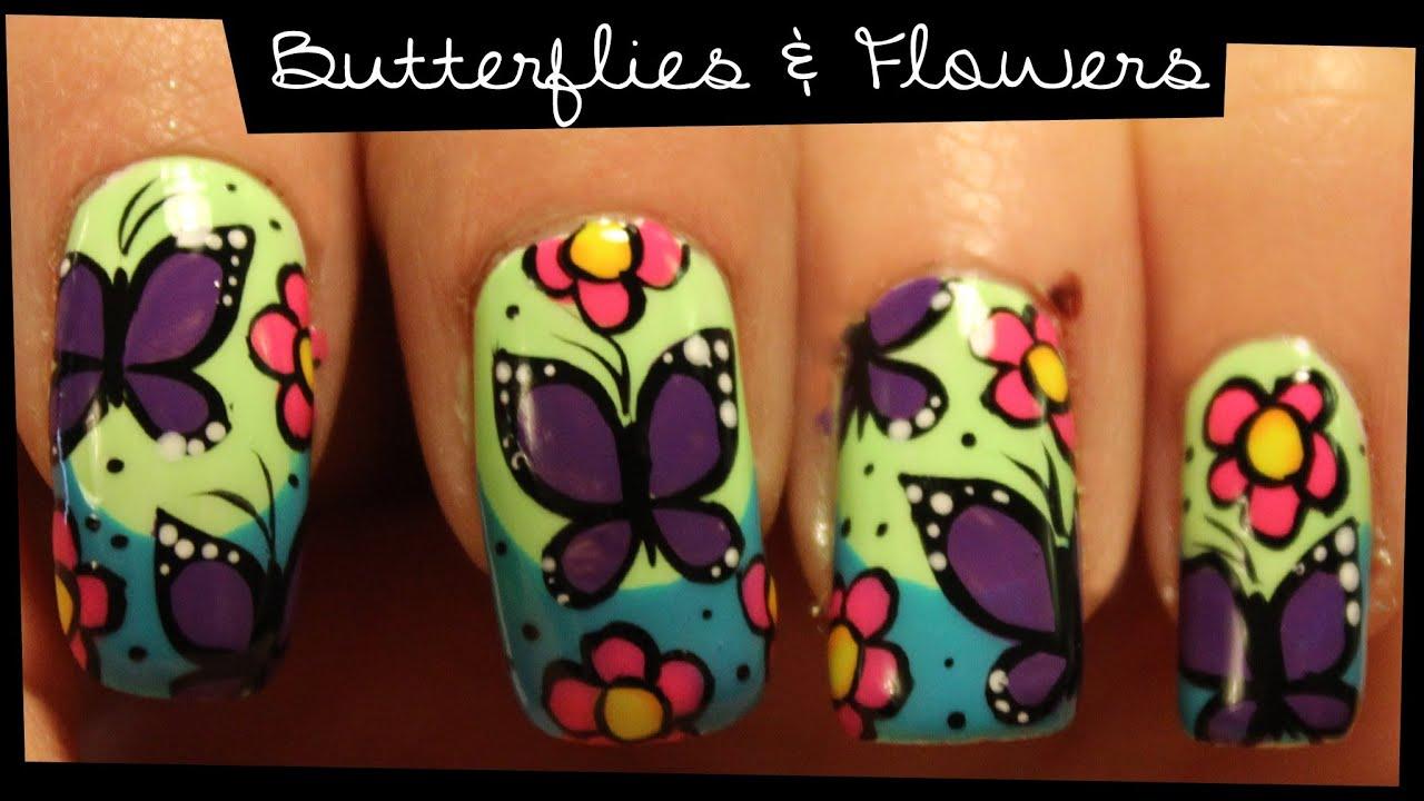 Butterflies Flowers Nail Art Youtube