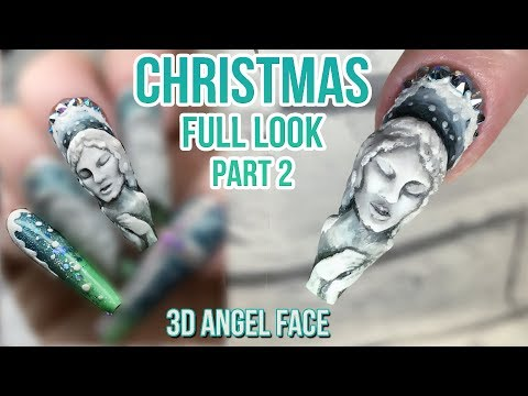 Christmas Nail Design - Full Look Part 2 - Acrylic Stone Angel With Bling - Part 1 of 2 - Naio Nails