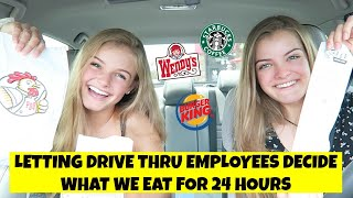 Letting Drive Thru Employees Decide What We Eat for 24 Hours Challenge ~ Jacy and Kacy