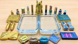 BLUE vs GOLD ! Mixing Makeup Eyeshadow Into Slime! Special Series #24 Satisfying Slime Video