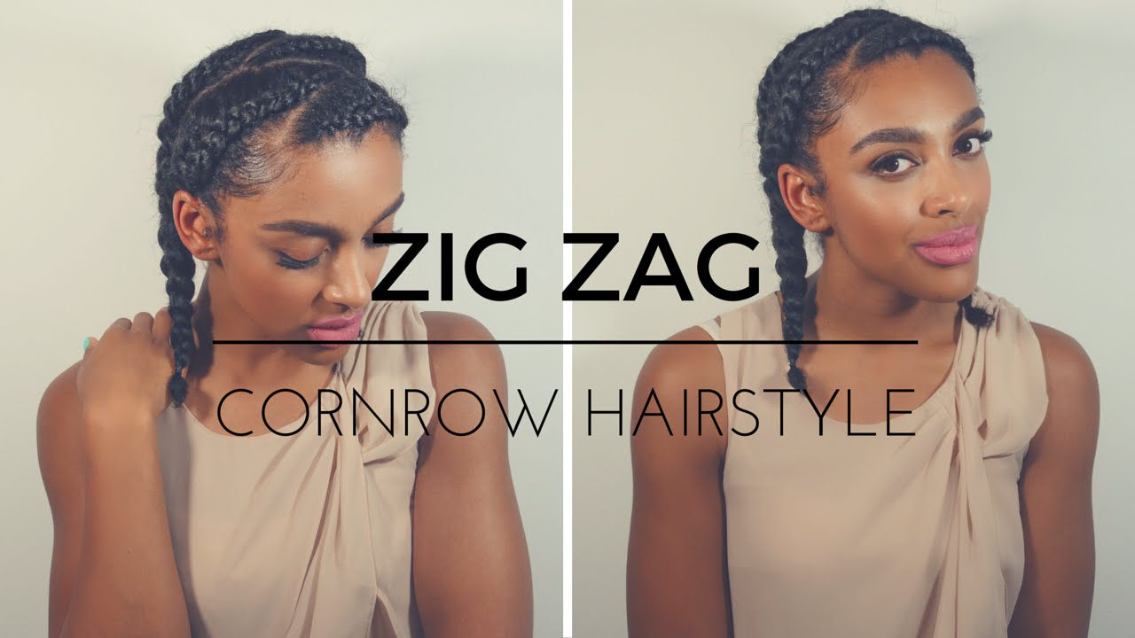 tutorial || zig zag cornrow hairstyle on natural hair - youtube