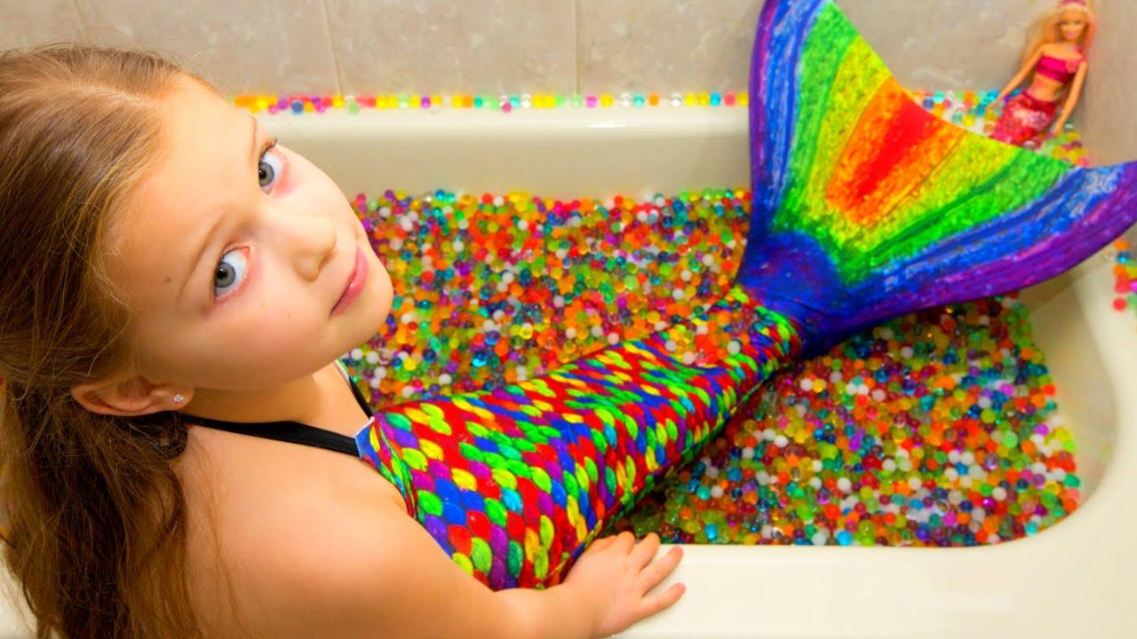 real life orbeez mermaid tail mermaid maya with barbie secret dream spa bath youtube
