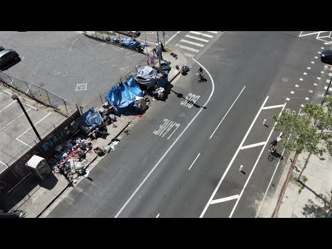 DRONE FOOTAGE LOS ANGELES SKID ROW