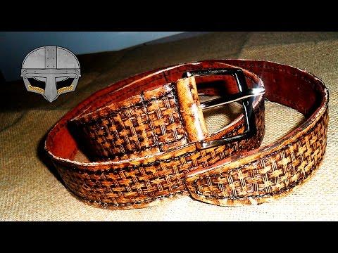 Cinturón de cuero con efecto envejecido
