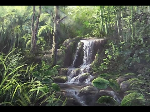 Jungle Waterfall | Landscape Oil Painting