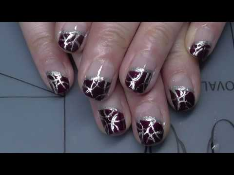 Einfaches Schrages French Nageldesign In Lila Mit Zierstreifen Youtube