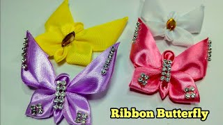 171) DIY || How to make butterfly from ribbon || Ribbon Brooches