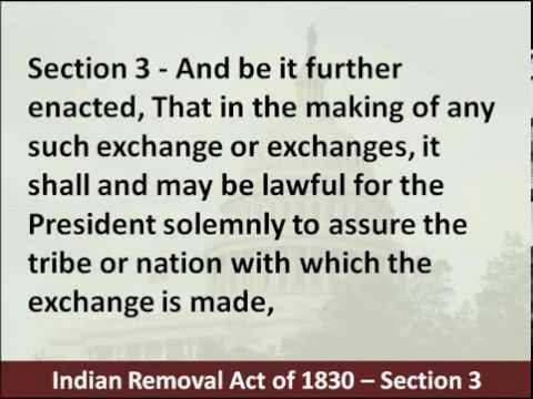 Indian Removal Act of 1830 – Hear and Read the Land Exchange