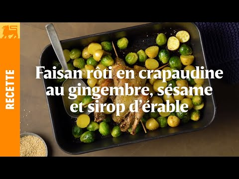 Faisan rôti en crapaudine au gingembre, sésame et sirop d'érable