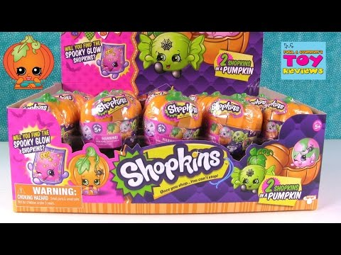 Shopkins Halloween Surprise Pumpkins 2 Pack Glow In The Dark Awesomeness Toy Review   PSToyReviews