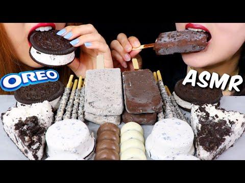 ASMR OREO ICE CREAM, PIE, COOKIES & CREAM ICE CREAM BARS, CHOCOLATE, PEPPERO 리얼사운드 먹방 | Kim&Liz ASMR