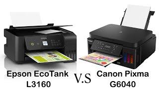 مقارنة طابعة Epson EcoTank L3160 مع طابعة Canon Pixma G6040