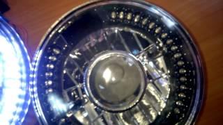 видео Фары Lada-2101, Niva, УАЗ, Волга линза+ ангельские глазки, 36 диодов, цоколь H4, черные