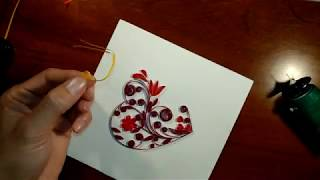 DIY and How to make Quilling Card Love