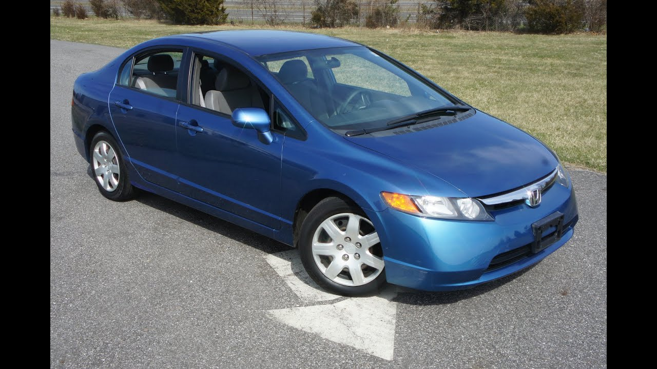 2006 Honda Civic Sedan For Sale~Blue~Automatic~Great Commuter~Salvage Title    YouTube