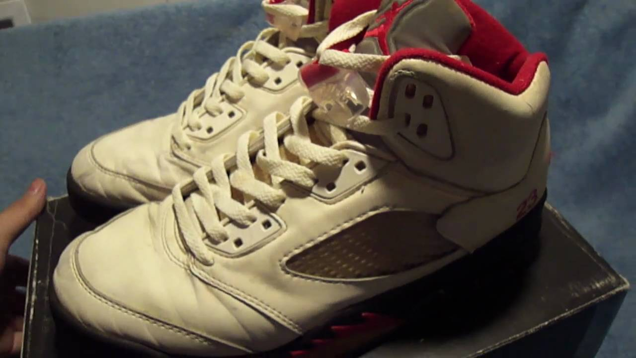 905a508fddc Nike Air Jordan 5 Original Fire Red 1990 V OG - YouTube