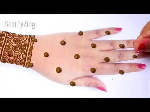Stylish Eid 2020 Full Hand Mehndi Design from Dots- आसान गोल टिक्की मेहँदी लगाना सीखे Simple Mehandi