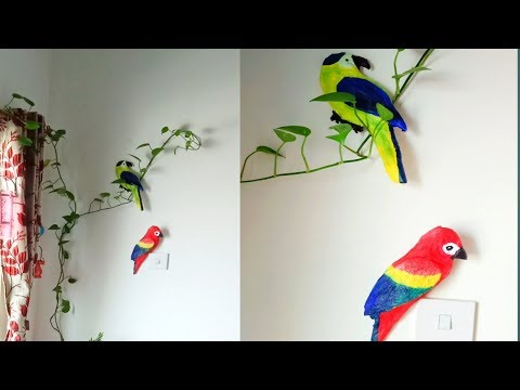 DIY cardboard macaw parrots/ how to make macaw parrot with newspaper /easy and low budget home decor