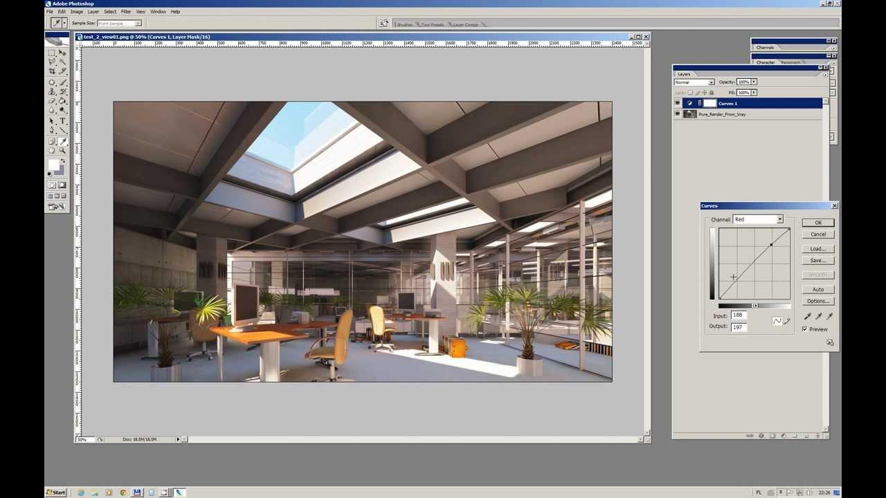 Simple postproduction of vray render in