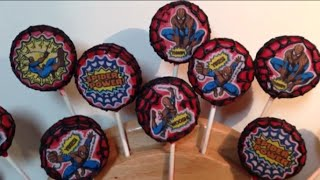 Spiderman Edible Images Oreo Cookie Pops