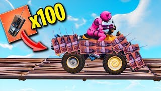 Quadcrasher Covered in 100 C4! Fortnite Funny Moments