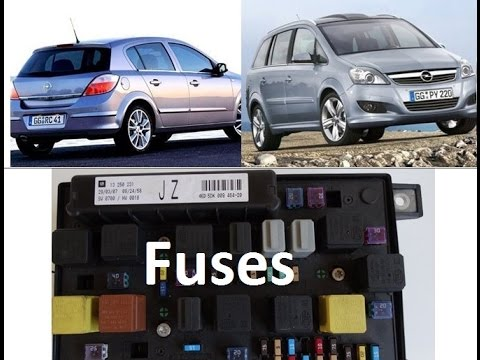 Diagram of Fuses - Opel/Vauxhall Zafira B, Astra H - fusebox, UEC, on