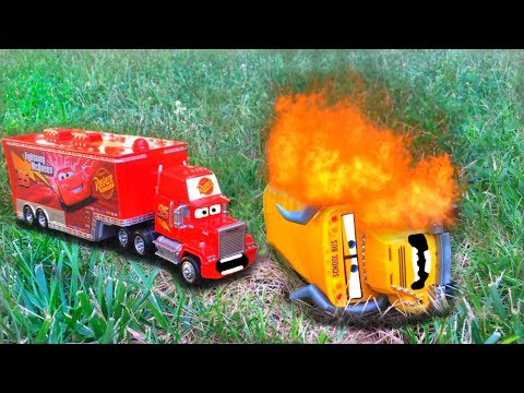 Thumbnail: Disney Pixar Cars Red Mack Hauler Races Saves Cars 3 Miss Fritter Giant Crash Starts Fire Toy Story