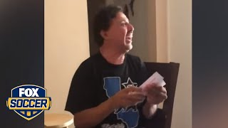 Dad can't stop crying when daughter gives him Mexico tickets