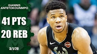 Giannis Antetokounmpo Drops 41 Points And 20 Rebounds In Bucks Vs. Hornets | 2019-20 Nba Highlights