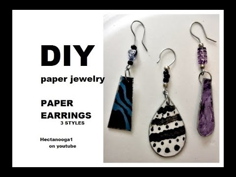 DIY,   3 PAPER EARRINGS, PAPER JEWELRY, EASY AND CHEAP CRAFTS