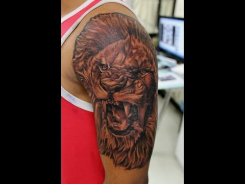 Roaring Lion Tattoo in Black and Gray
