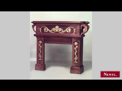 Antique French Art Nouveau walnut fireplace mantel  with