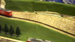 鉄道模型 ラックレールを使って登ります  MGB BEMO Loksound Cog rail   Penetration sound  SWISS Train