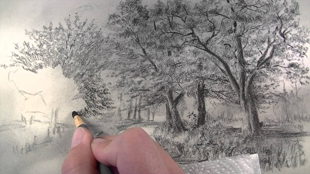 How to draw with charcoal pencils landscape sketching youtube
