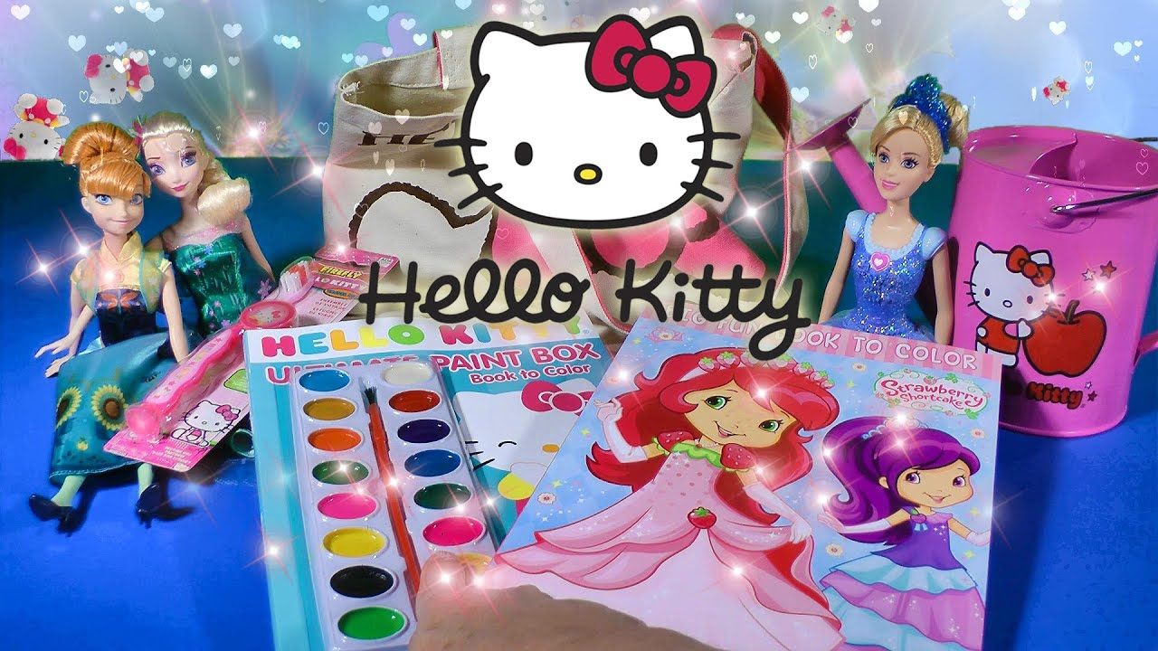 Hello Kitty Toys Collection Coloring Tote Bag Frozen Fever Cinderella  Strawberry Shortcake Toy Video a198042582c5d