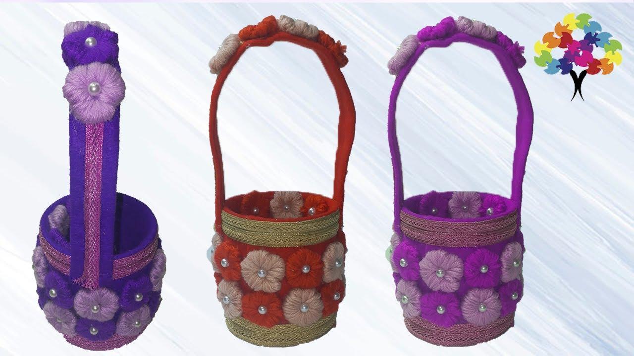 كيفية صنع سلة من القماش وعلبة فارغة اشغال يدوية How To Make A Basket Of Cloth And An Empty Box Youtube