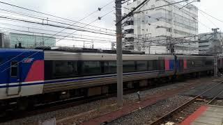 JR西日本京都駅でHOT7000系特急スーパーはくとの入線シーン(2019年10月14日月曜日)携帯電話で撮影