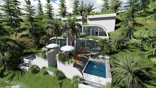 Sketchup Drawing Modern hill villa and Lumion render