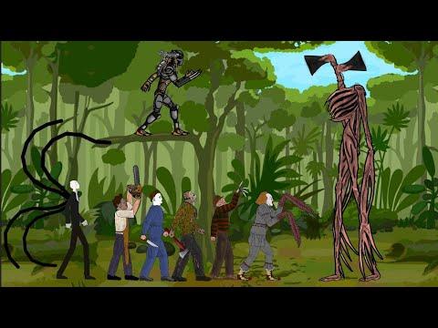 Siren Head Vs Jason Voorhees, Michael, Freddy, IT Pennywise, Leatherface, SLENDER MAN, Predator[Dc2]