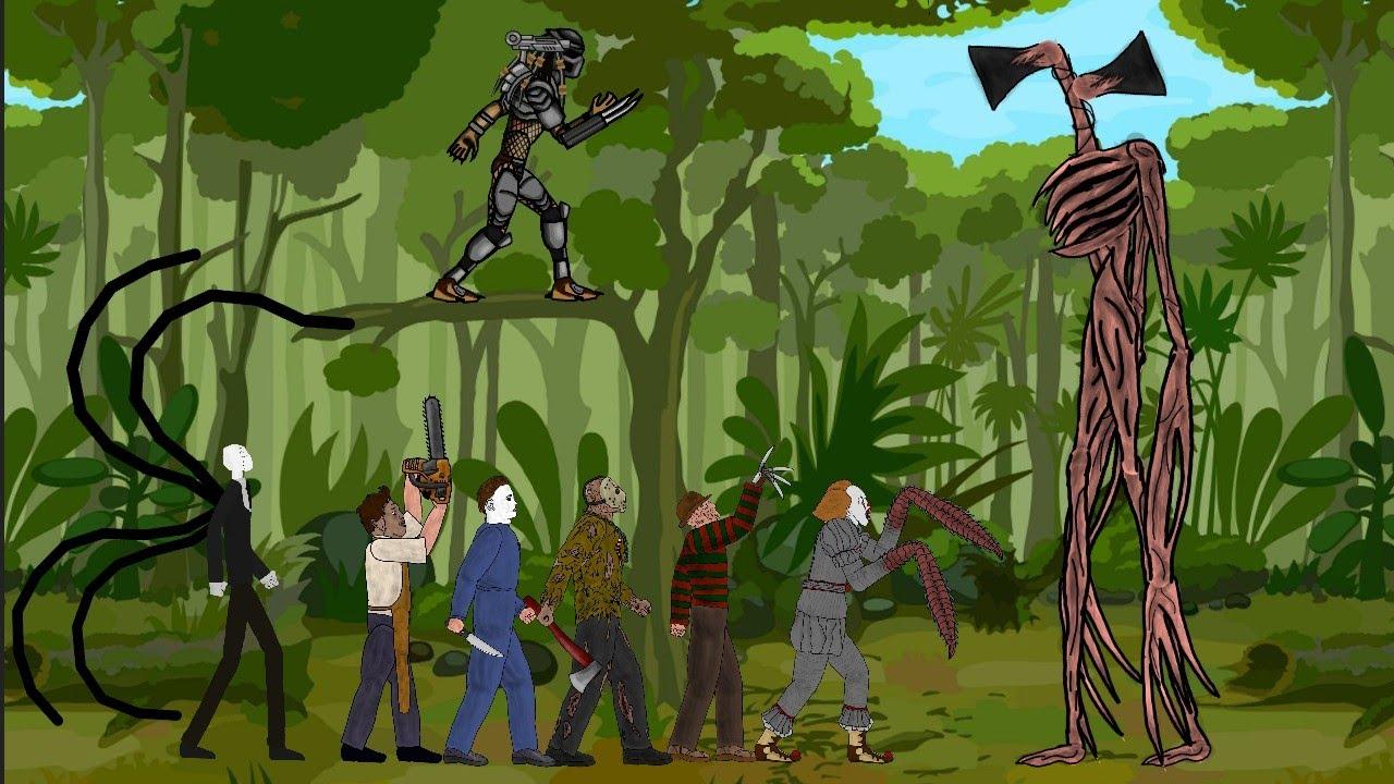Download Siren Head vs Jason Voorhees, Michael, Freddy, IT Pennywise, Leatherface, SLENDER MAN, Predator[Dc2]